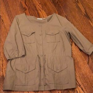 NY&Co. Olive Button Up Shirt Size L